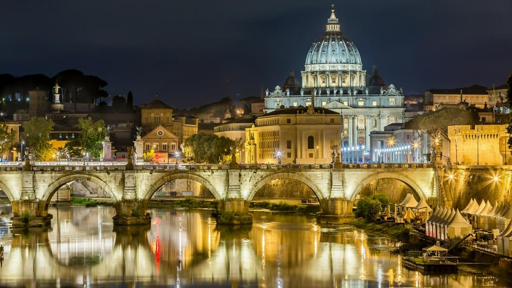 St. Angelo Bridge and the Saint Peter Basilica wallpaper
