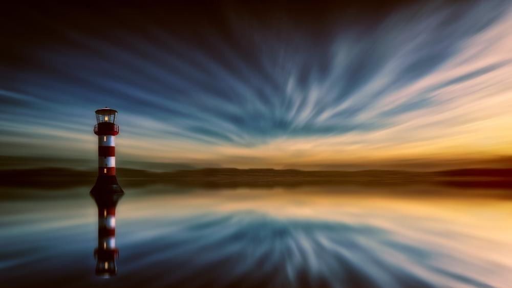 Striped lighthouse reflection wallpaper