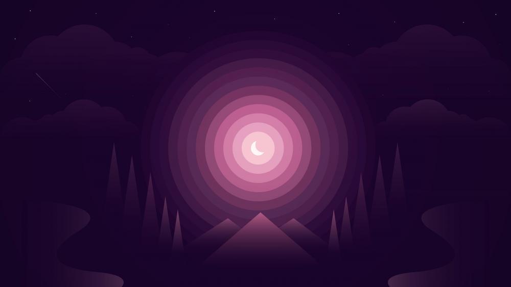 Purple moonlight minimal abstract art wallpaper