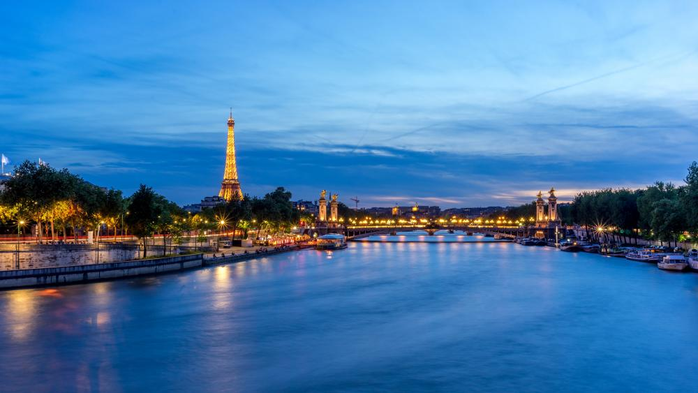 Eiffel Tower and Siene River wallpaper