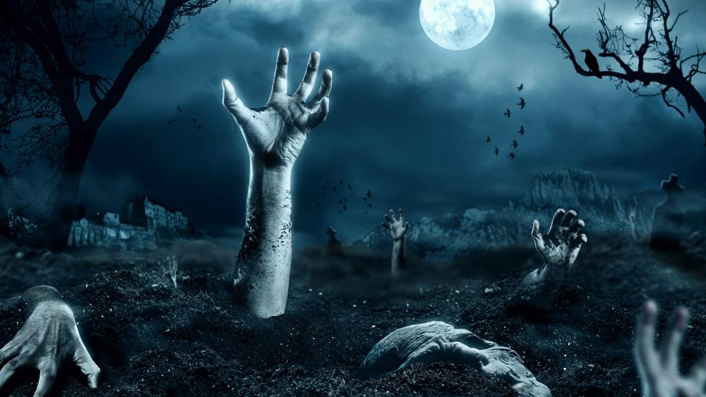 Zombies in the cemetery wallpaper