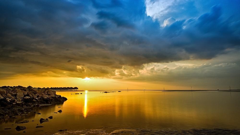 Sunset over Sepang Gold Coast, Malaysia wallpaper