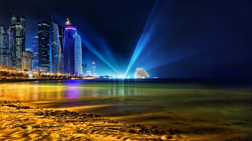 Doha city lights wallpaper