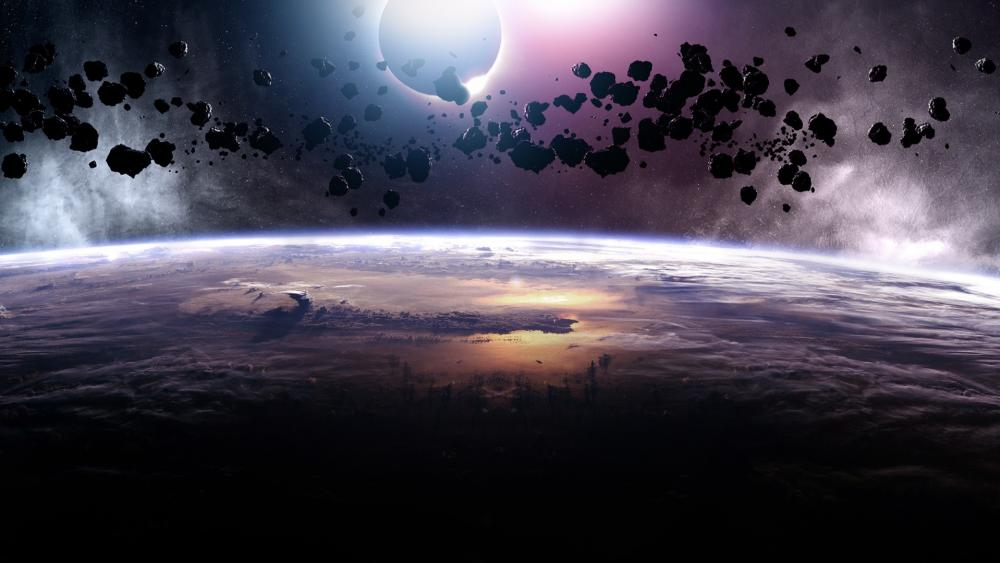 Asteroids eclipse wallpaper