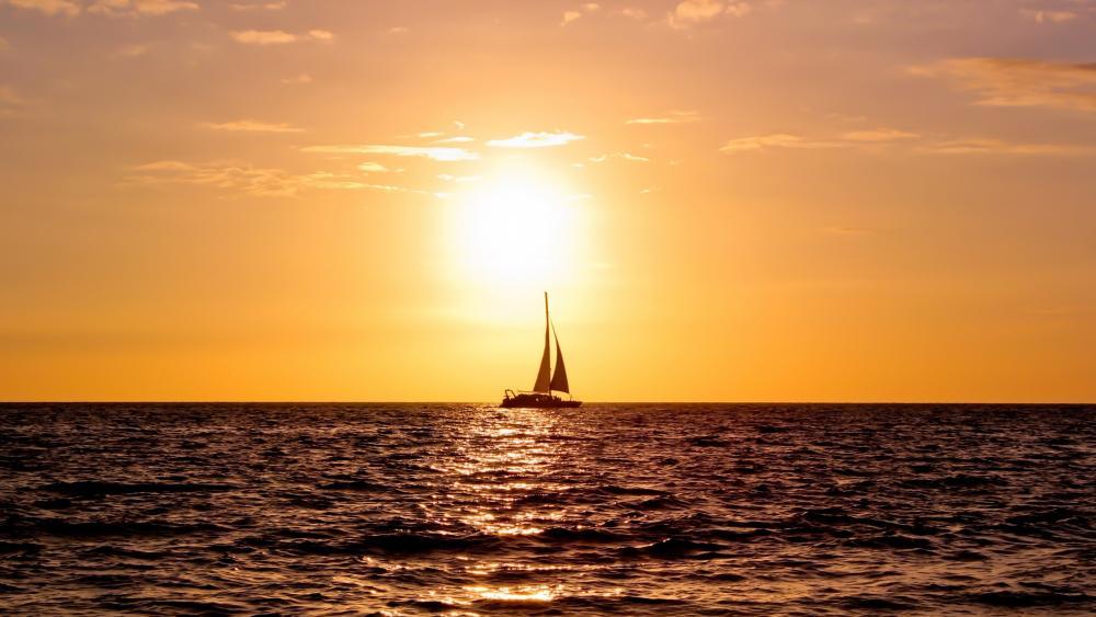 Sunset sailing wallpaper