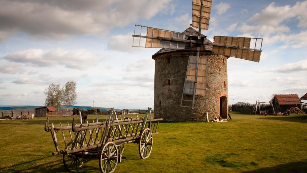 Windmill and chariot wallpaper