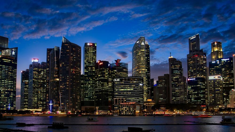 Singapore at dusk wallpaper