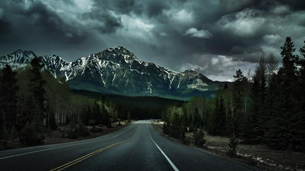 Cloudy mountain highway wallpaper