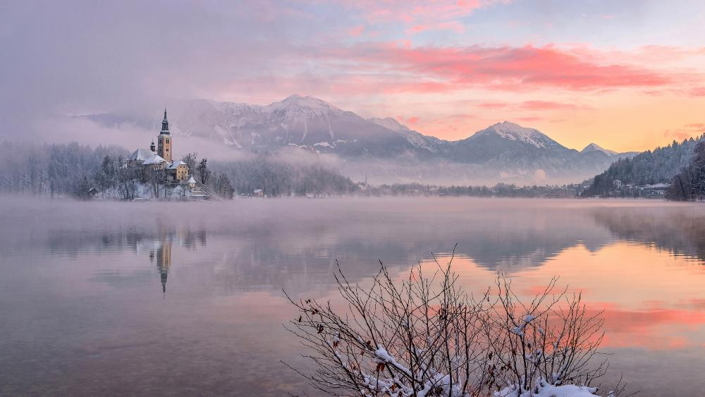 Mariinsky church reflected in the Lake Bled wallpaper