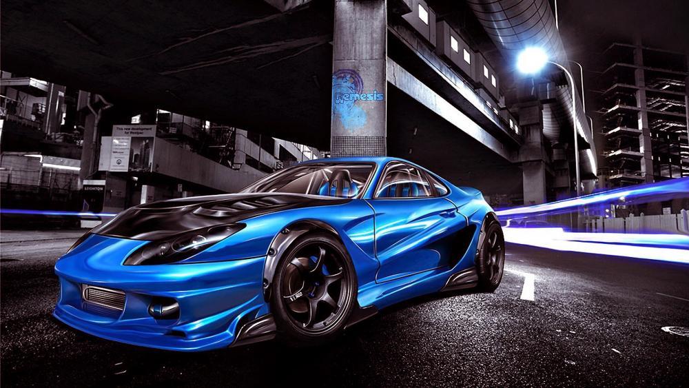 Blue Toyota Supra wallpaper