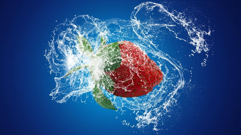 Strawberry splash wallpaper