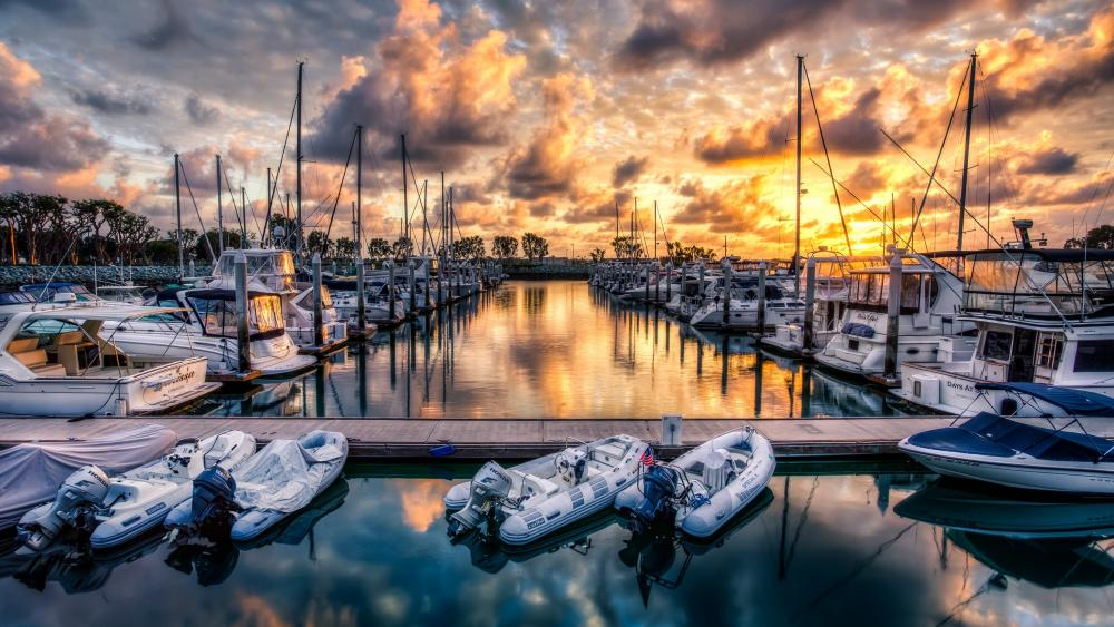 Inflatable boats in the harbor wallpaper