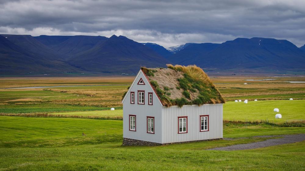 Sod house in Reykjavik, Iceland wallpaper