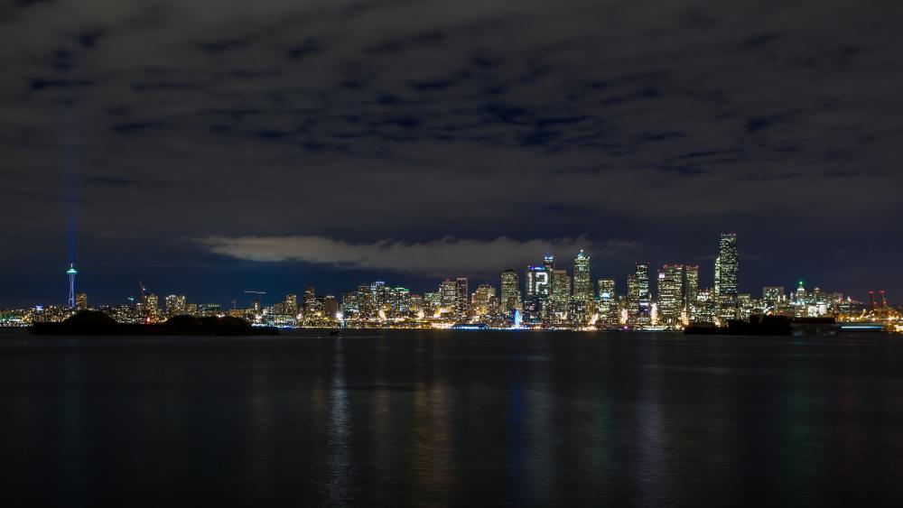 Seattle skyline from Elliott Bay at night wallpaper