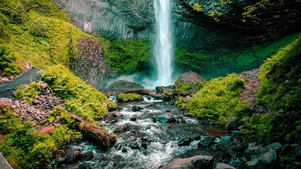 Waterfall and flowing stream wallpaper