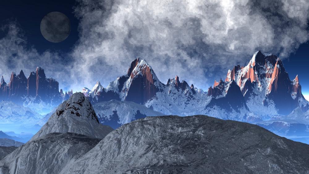 Fantasy mountains wallpaper