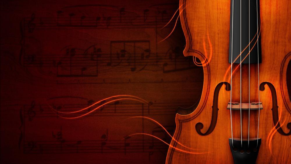Violin and sheer music wallpaper