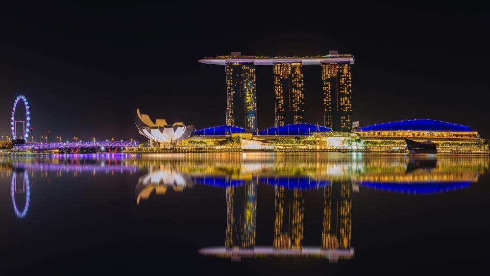 Marina Bay Sands at night wallpaper