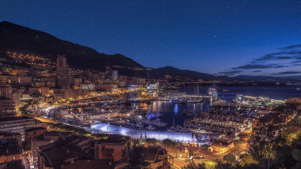 Monte Carlo night panorama wallpaper