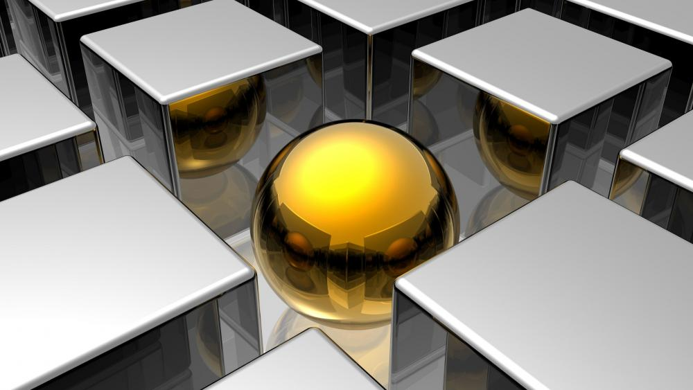 3D gold ball between the silver cubes wallpaper