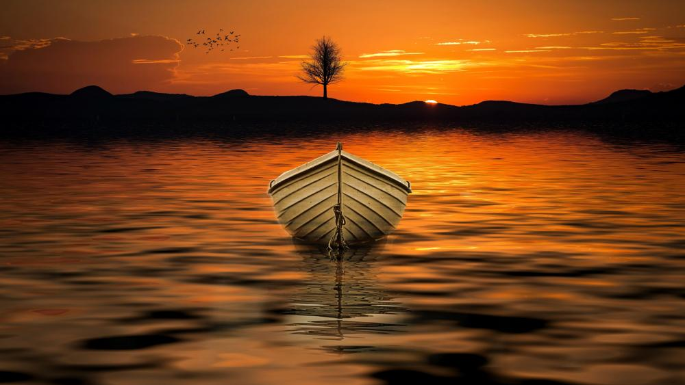Scenic view of a white boat in the sunset wallpaper