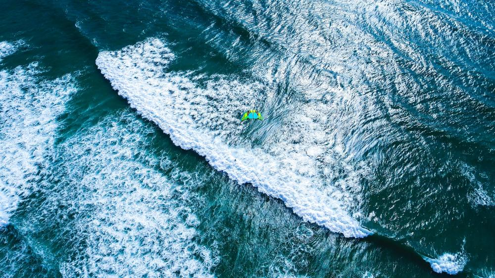 Kite surfer drone view wallpaper