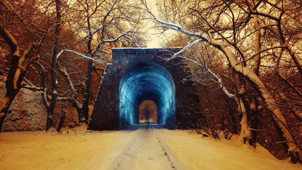 Snowy tunnel rails wallpaper
