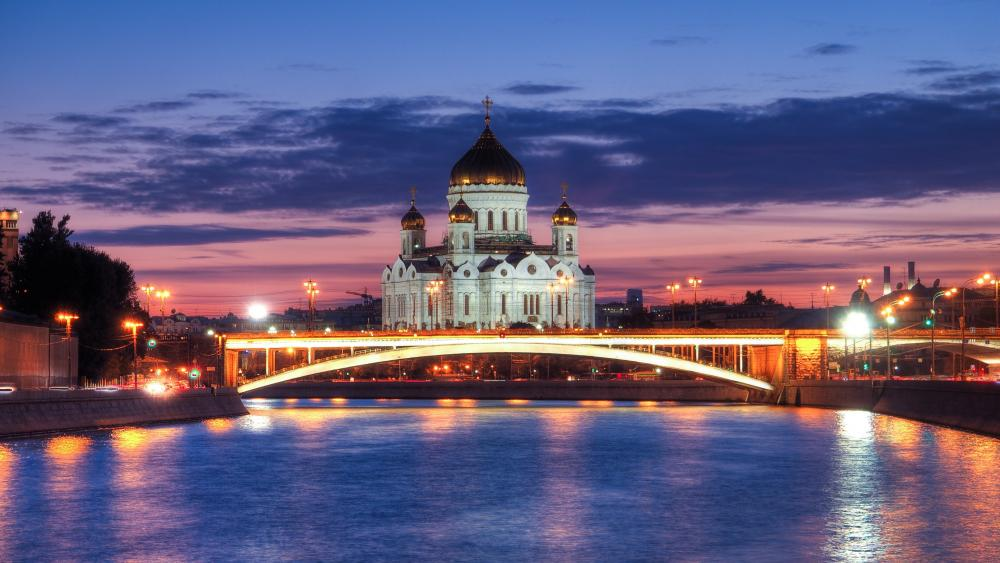 Moscow Cathedral and the Moskva River wallpaper