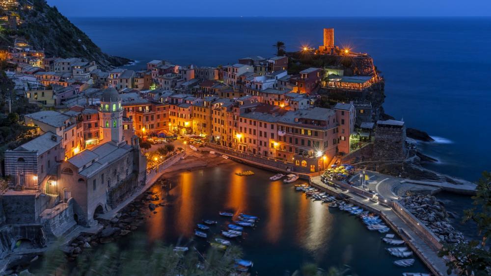 Vernazza in the Cinque Terre region by night (Italy) wallpaper