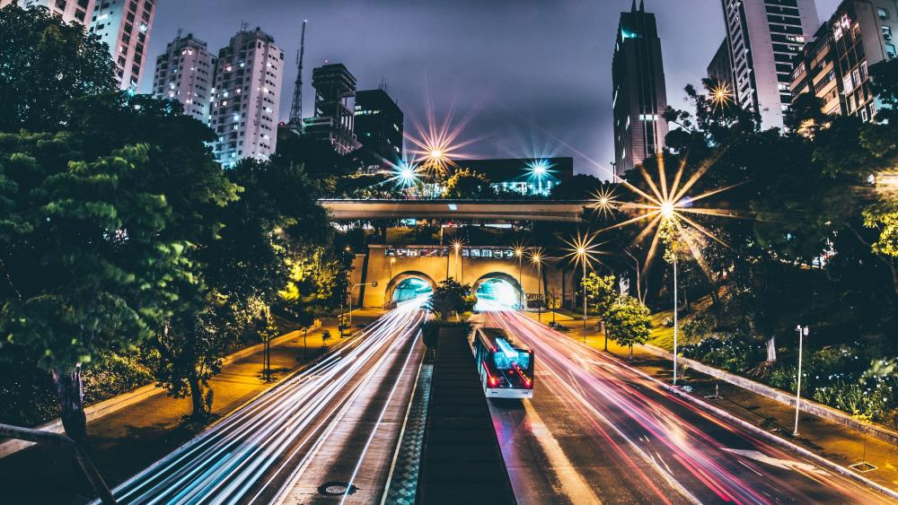 Night time traffic - Long exposure photography wallpaper
