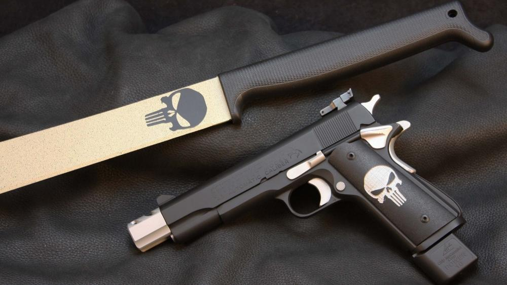 Gun and knife wallpaper