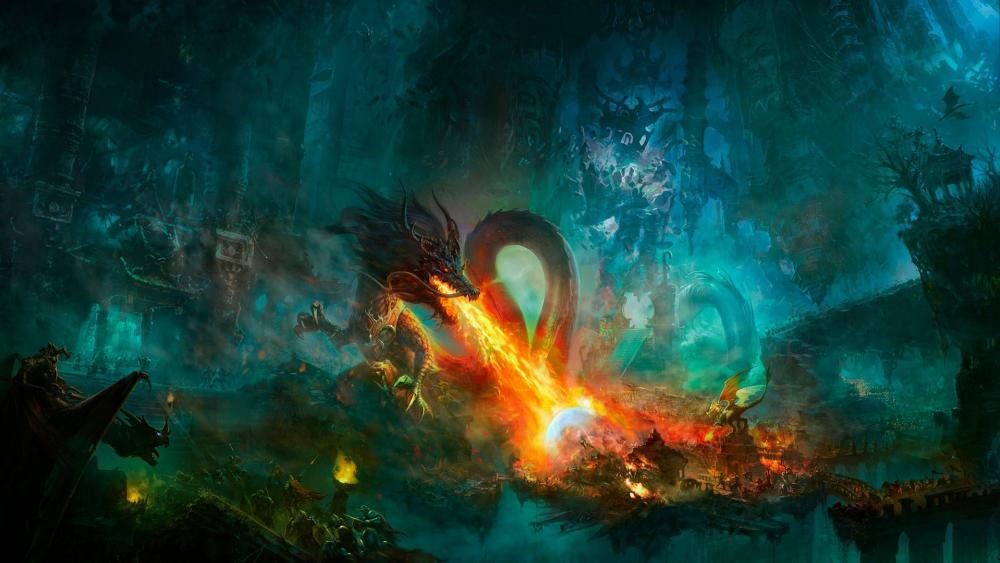 Chinese dragon fire wallpaper