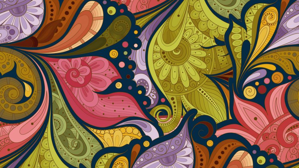 Multicolor flower pattern wallpaper