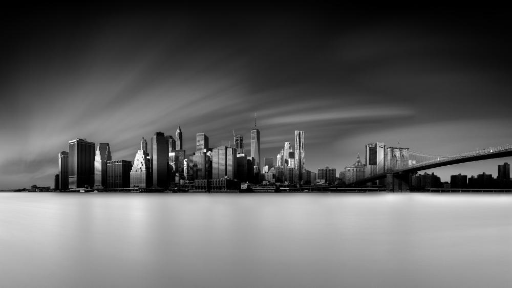 New York City and Brooklyn Bridge monochrome cityscape wallpaper