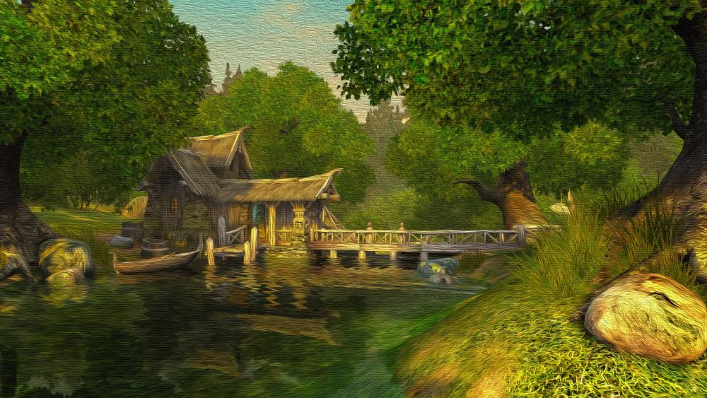 Forest house oil painting in canvas wallpaper