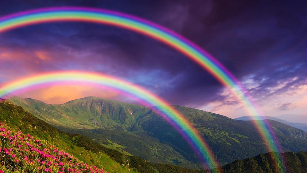 Rainbows in the mountains wallpaper