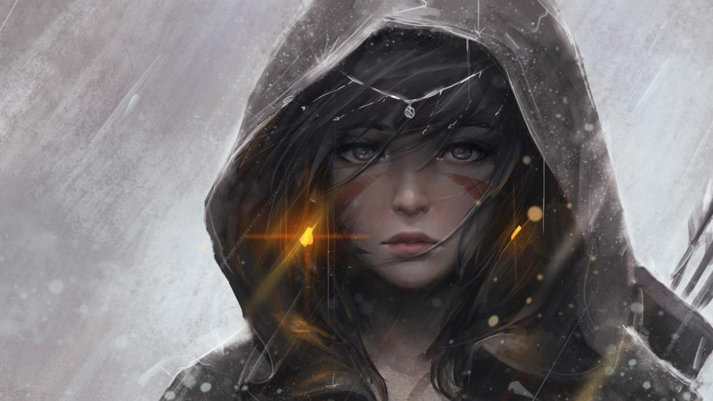 Girl in hoodie wallpaper
