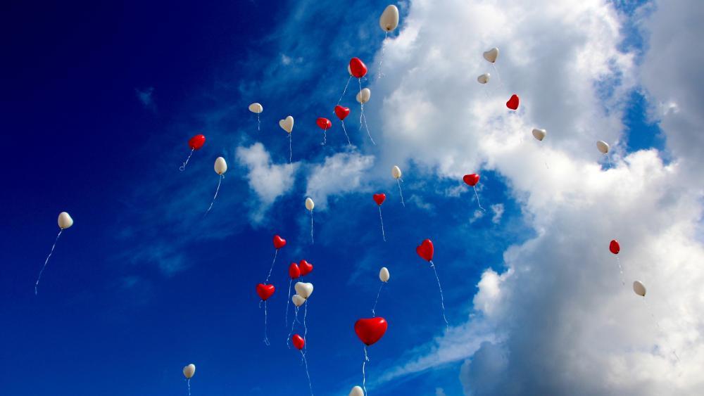 Heart balloons wallpaper