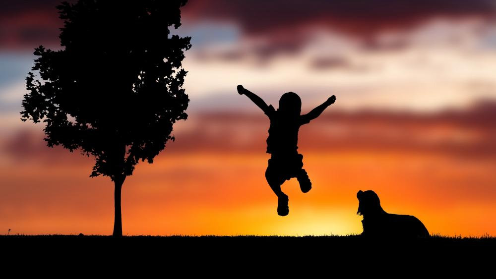Jumping kid silhouette wallpaper