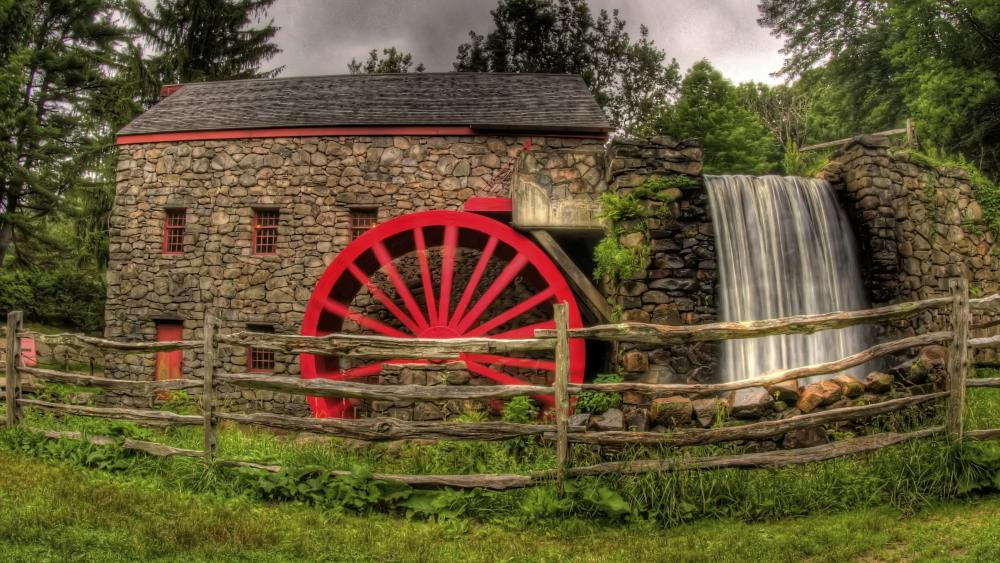 Wayside Inn Grist Mill in Sudbury wallpaper