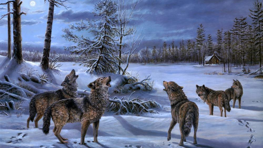 Howling wolves painting wallpaper