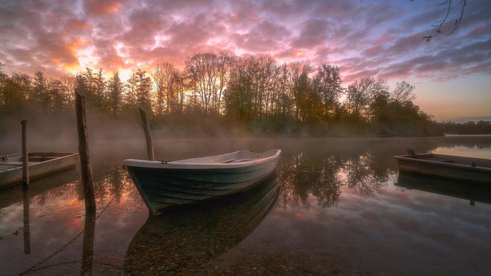 Rowing boat on a misty lake wallpaper