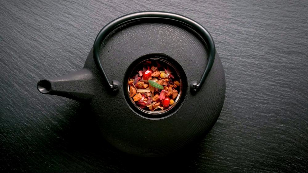 Rustic teapot wallpaper