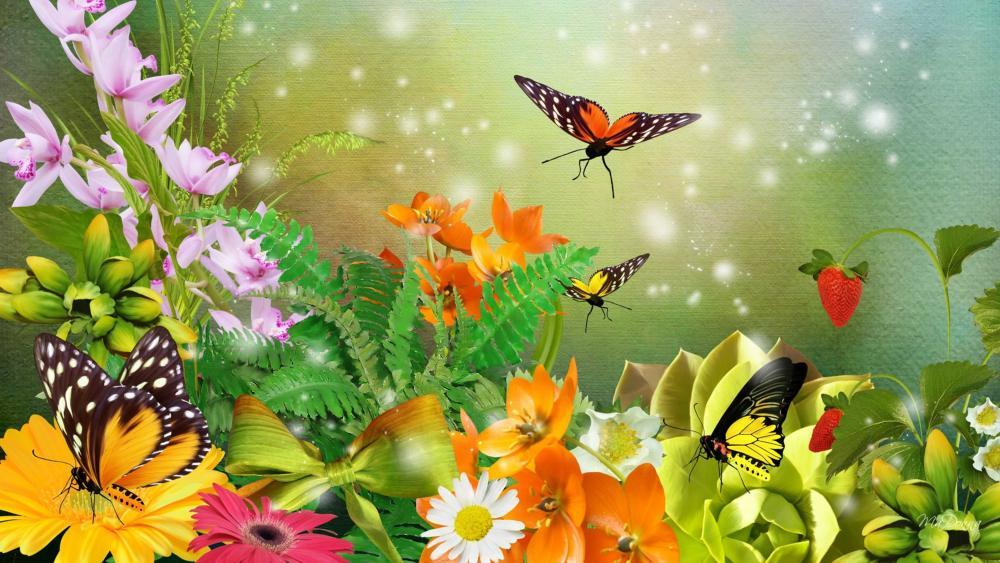 Butterflies in the flower garden - Fantasy art wallpaper