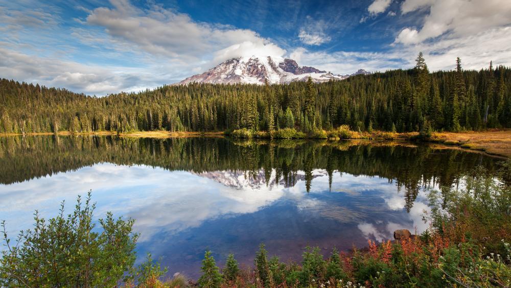 Awesome mountain lake reflection wallpaper