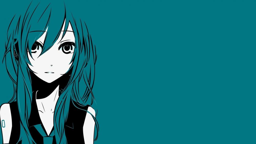 Hatsune Miku minimal anime art wallpaper
