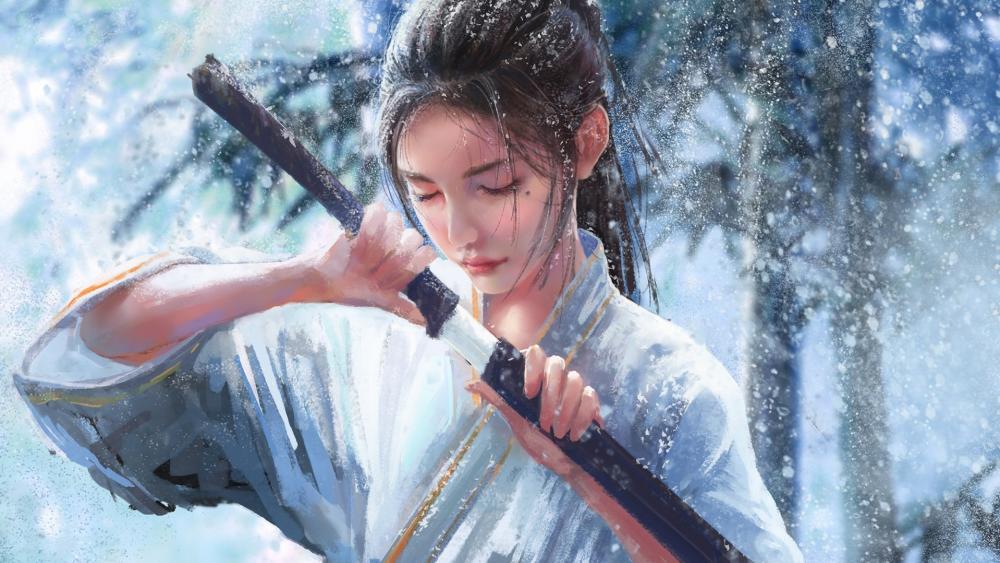 Japanese women with katana wallpaper