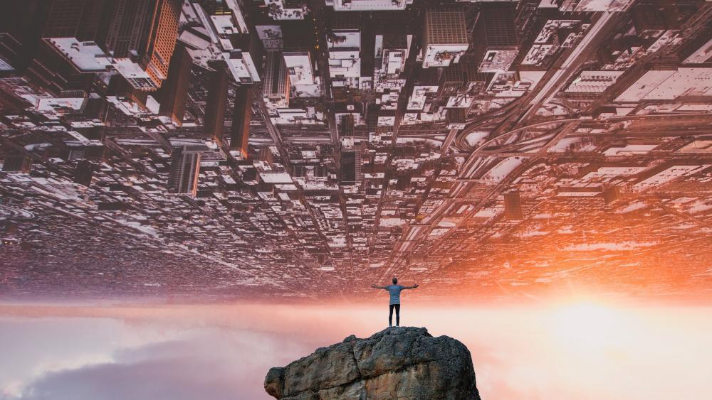 Cityscape upside down wallpaper