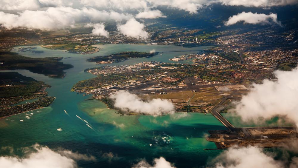 Pearl Harbor aerial photography wallpaper