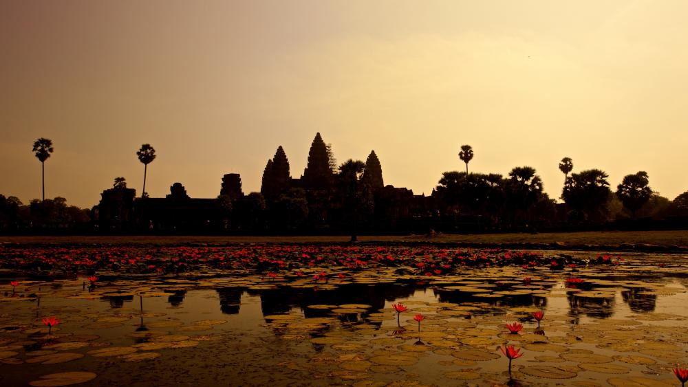 Angkor Wat silhouette (Cambodia) wallpaper